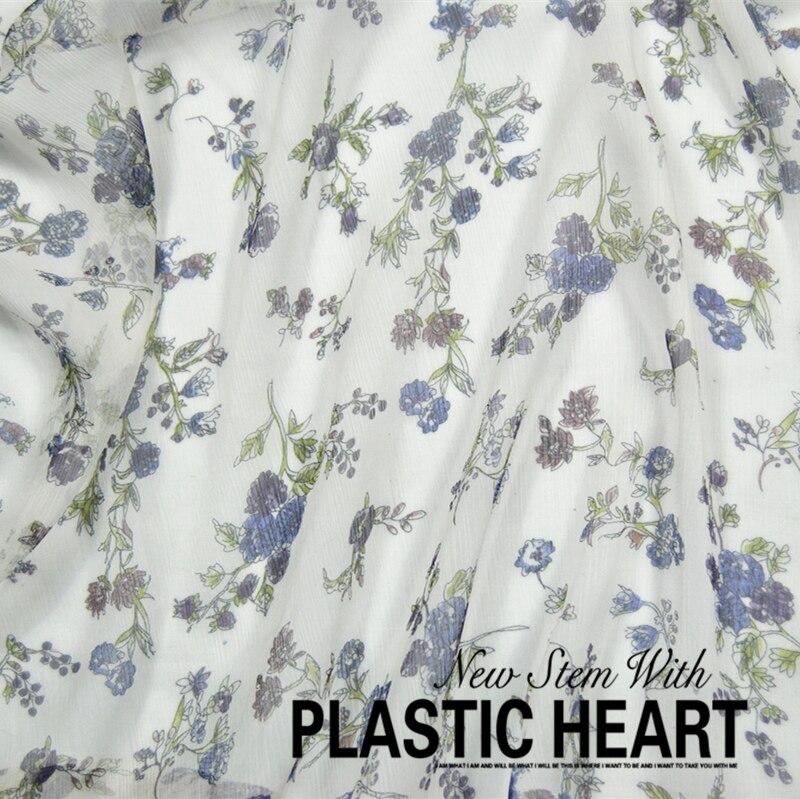 Leo & lin flores brancas 100% seda shun yu rugas georgette primavera verão vestido tecido baotou (1 metro)