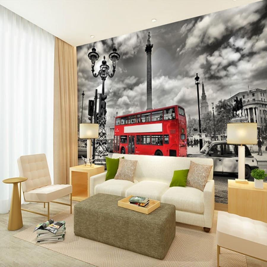 3d обои для фотосъемки, красные двухэтажные обои с изображением автобусов, большие декоративные настенные росписи