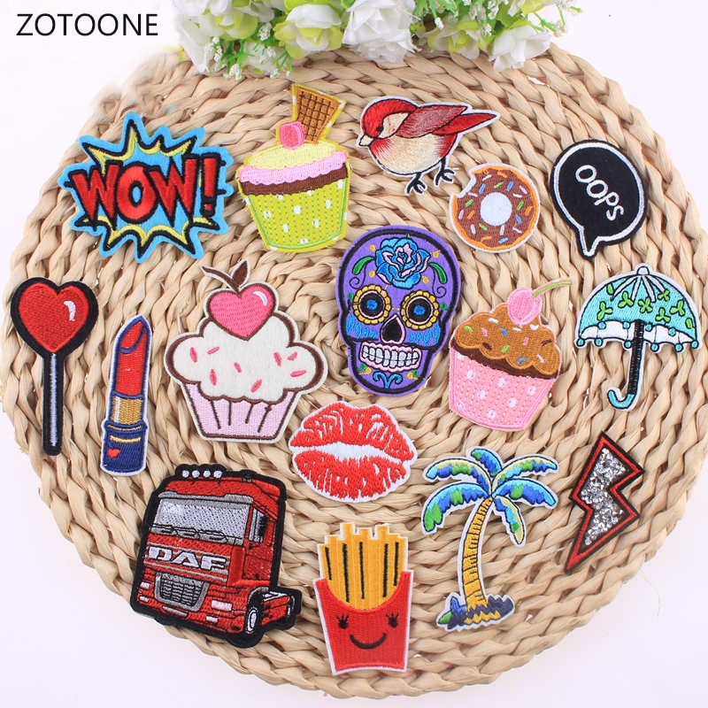 Lip Bird Cake Chips Patch Lollipop Cartoon Iron On Cheap Embroidered Cute Patches For Clothes Hippie Skull Badges Stickers A