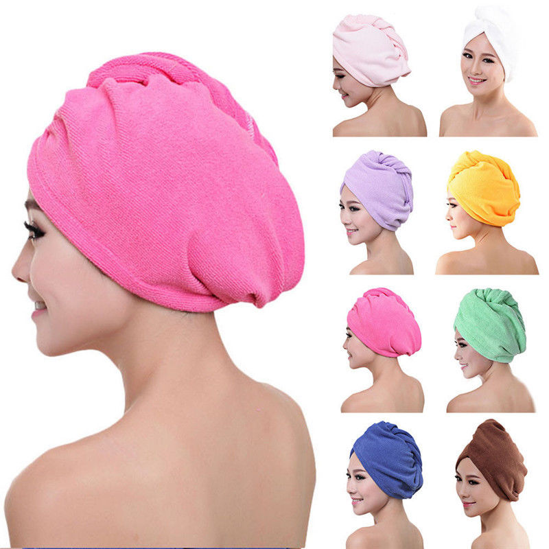 Microfiber Hair Drying Towel Wrap Turban Head Hat Bun Cap Shower Dry Microfiber Bath Tower