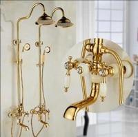 bathtub and shower faucet brass and jade golden bath shower set wall mounted 8 rain shower tap handshower faucet set for bath