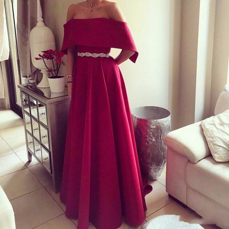 Red Long Prom Dresses 2019 A Line Satin With belt Formal Dress Women vestidos de fiesta vestido formatura Custom Made