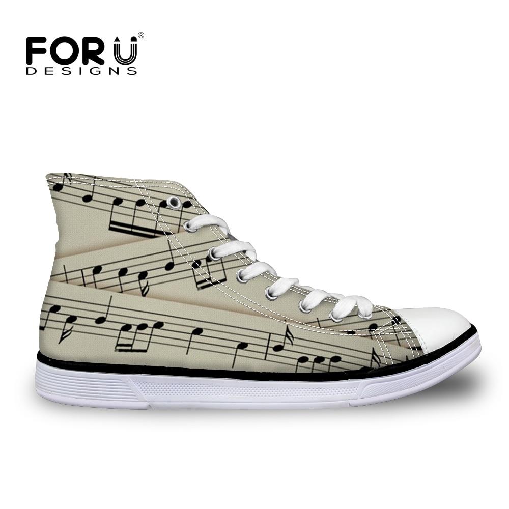 FORUDESIGNS 2019 femmes baskets chaussures vulcanisées Notes de musique Piano guitare impression toile chaussures respirant marche appartements grande taille