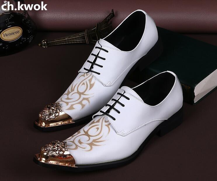 Zapatos de lujo de caballero blancos hechos a mano CH. KWOK, zapatos Oxford dorados para fiesta, banquetes, zapatos planos para hombre, talla 46
