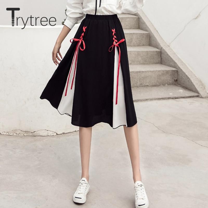 Ttytree verano otoño mujer falda A-Line rodilla-longitud cintura elástica Patchwork Faldas Mujer Criss-Cruz lazo moda falda