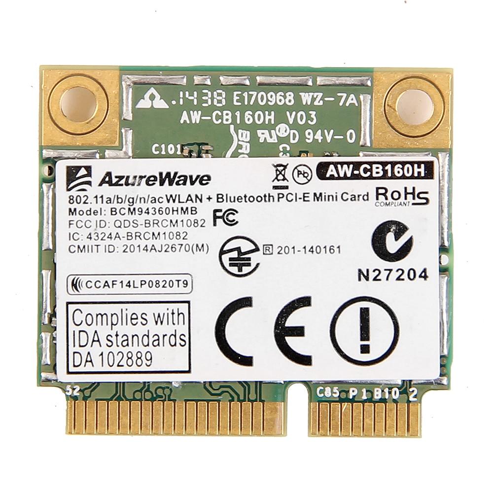 AzureWave AW-CB160H Broadcom bcm9360hmb 802.11AC 1300 Мбит/с беспроводной Wi-Fi WLAN Bluetooth 4,0 Mini PCI-E карта + 20 см MHF4 антенны