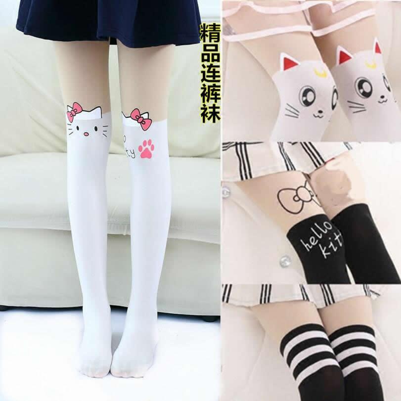Тонкие колготки для девочек от 4 до 14 лет, колготки до колена с имитацией татуировки, вельветовые колготки белые Колготки с рисунком котенка из мультфильма для девочек