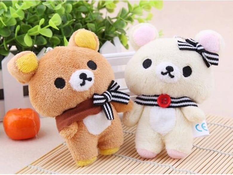 2017 2 unids/set Kawaii 11CM amantes oso rilakkuma juguete de peluche suave figura llavero de muñeco bolsa de diseño colgante juguete de encanto #10