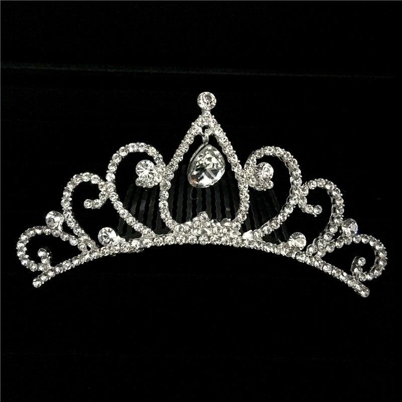 6 unids/lote precioso Mini diamante cristalino nupcial princesa corona peine de pelo Tuck Tiara bola fiesta boda
