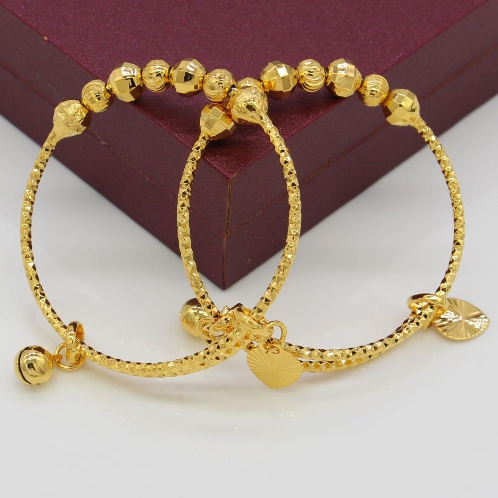 7.5$/2pcs Dubai Bangles For Baby/Kids Gold Color Ethiopian Exquisite Bracelet/Bangle Trendy African Arab Jewelry