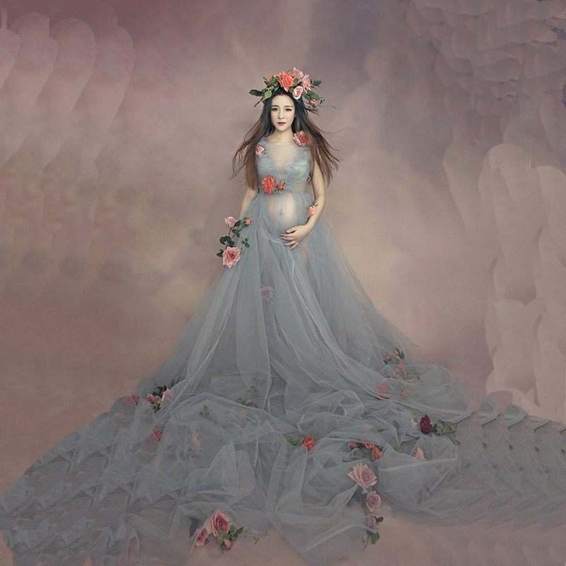 Maternity Maxi Dress For Photo Shoot White Lace Long Dresses Pregnant Women Photography Props Plus Size Lace Pregnancy Clothes enlarge