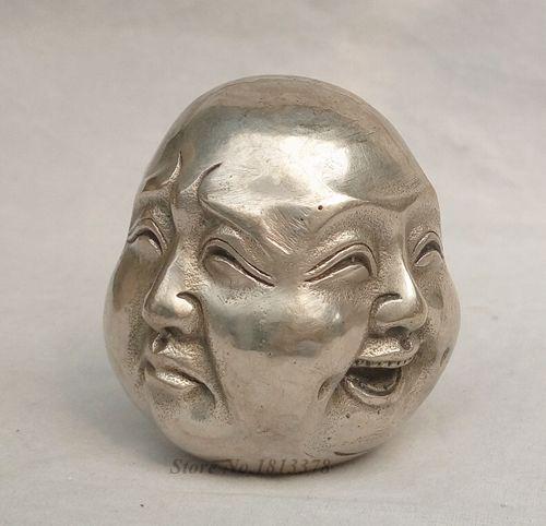 Budismo plata 4 diferentes emociones cara Maitreya Buda cabeza estatua envío rápido