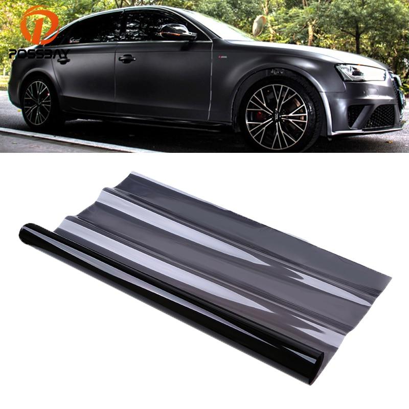 POSSBAY 25% VLT 50*600cm negro coche Auto ventana tintado película rollo casa cubierta de vidrio tintado lateral ventana lámina parasol