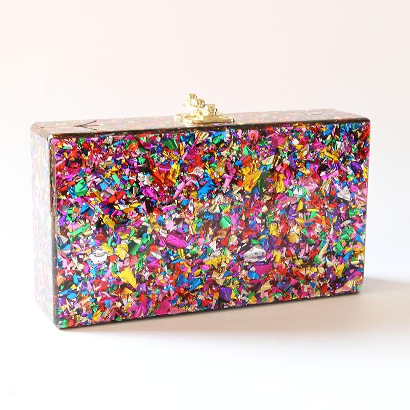 2018 cor colorida caixa de acrílico embraiagens mulheres mensageiro ombro dia embraiagens senhora moda glitter aleta escudo agradável acrílico sacos