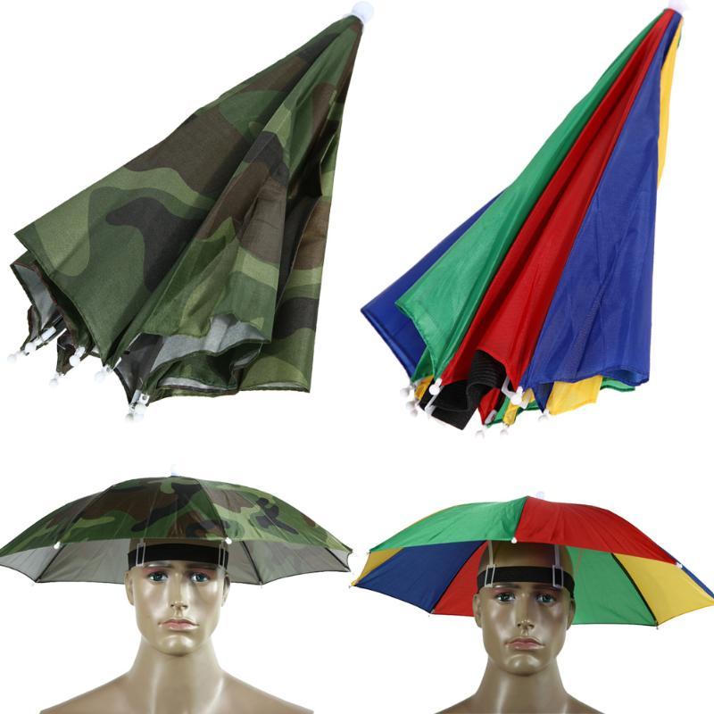 Sombrero con paraguas plegable para la pesca, senderismo, playa, Camping, gorra, sombreros, paraguas con manos libres, deportes al aire libre, equipo de lluvia