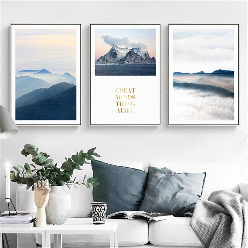 Niebla paisaje de montaña decoración del hogar lienzo nórdico pintura arte sala de estar arte impresión cartel paisaje Natural letra imagen
