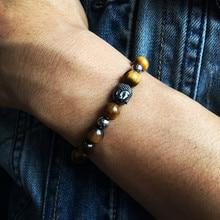 Mcllroy 8mm Nature pierre perles noires guérison équilibre bouddha tête Bracelet Yoga perle Reiki prière Bijoux Bracelets