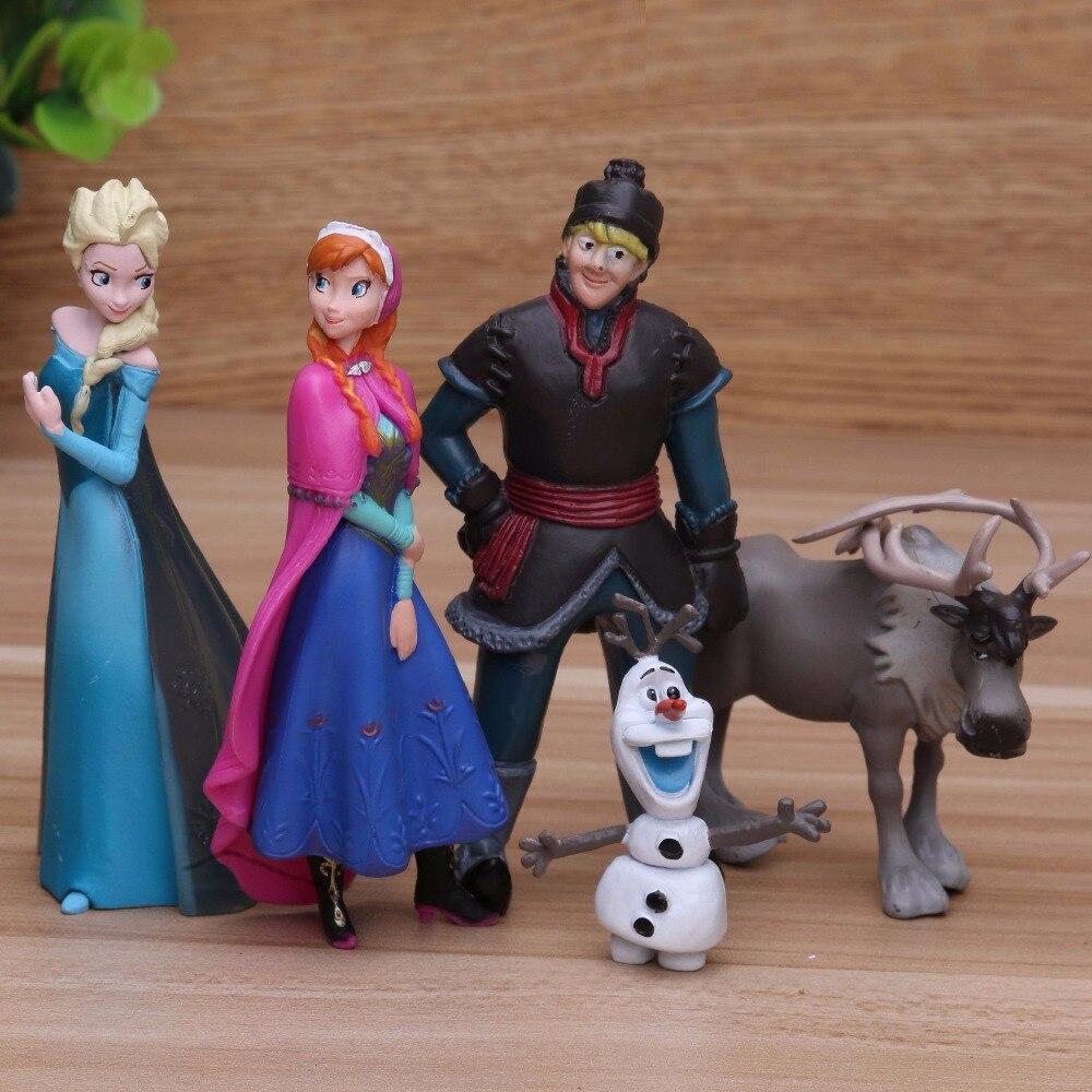 Disney congelado princesa 5 pçs/lote 5-10cm anna elsa figuras de ação kristoff sven olaf pvc modelo bonecas coleção presente de aniversário brinquedos