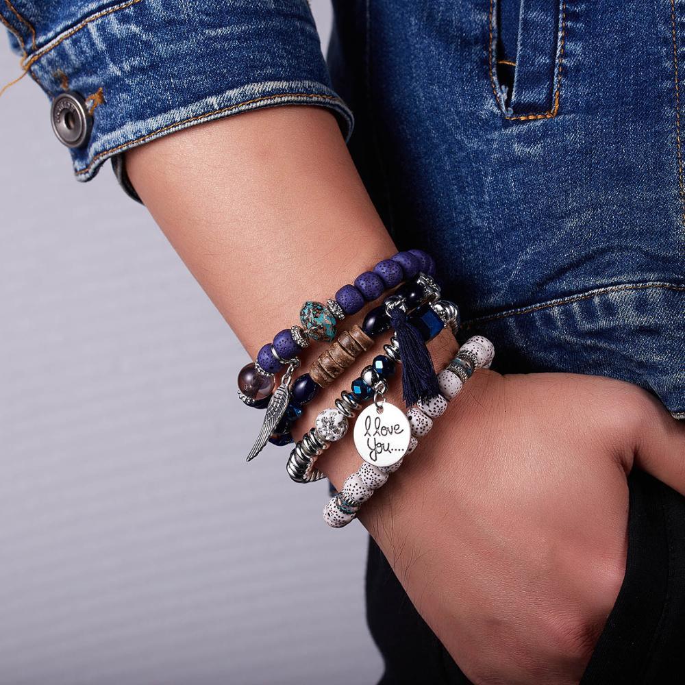 Rinhoo cristal grânulo pulseiras para as mulheres do vintage ângulo chatm pulseira jóias femininas borla pedra natural presente 4 pçs/set