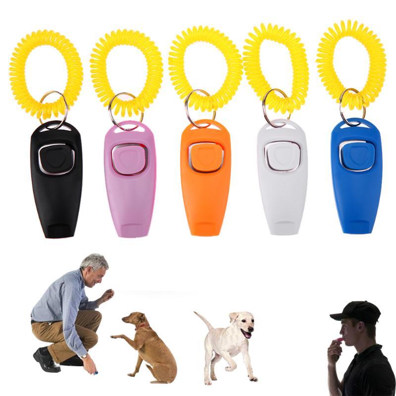 Кликер для собак, тренировочный кликер для собак и кошек, тренировочные свистки, кольцо для ключей и ремешок на запястье, товары для собак