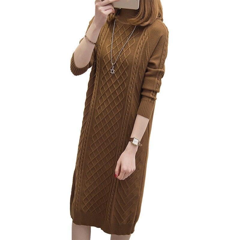IOQRCJV الشتاء الدافئة السترة سترة اللباس المرأة مثير سليم مطاطا طويل محبوك Bodycon الكبس فساتين Vestidos S136