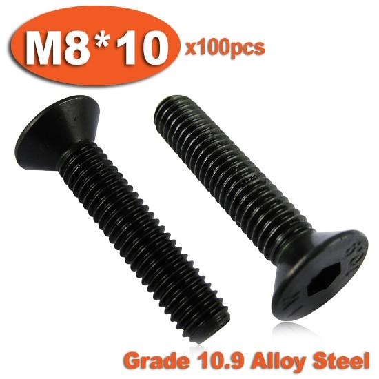 100pcs DIN7991 M8 x 10 Grade 10.9 Alloy Steel Screw Hexagon Hex Socket Countersunk Head Cap Screws