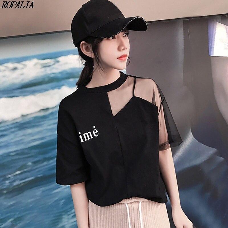 Carta feminina impressão malha costura manga curta camiseta retalhos estilo coreano poliéster topos roupas