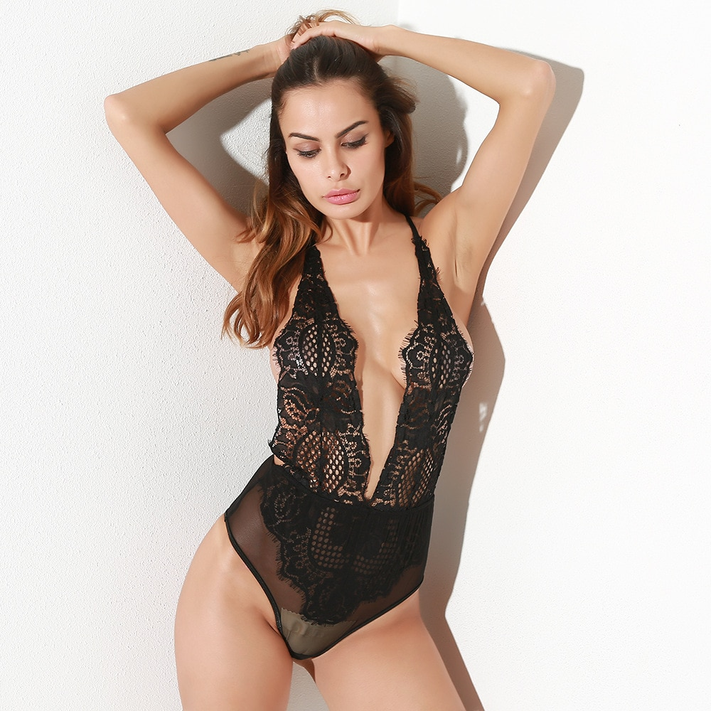 Black Sexy Deep V-neck Backless Women Bodysuit 2020 Sumemr Lace