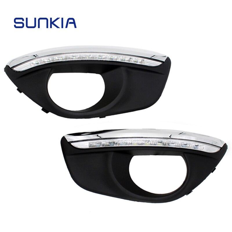SUNKIA-مصباح LED نهاري لهيونداي سانتا في 2010-2012 ، مع مصباح ضباب ، إضاءة خافتة DRL ، شحن مجاني