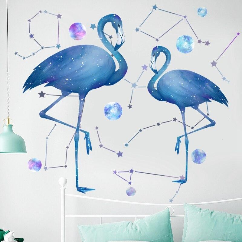 Constellation Flamingo Wall Stickers for Living room Bedroom Kids room Nursery Wall Decor Art Murals Removable Vinyl Decals