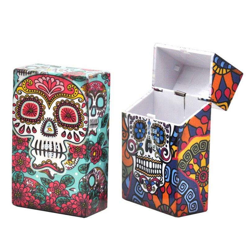 1 unidad de caja de cigarrillos Stash Skull Pattern Box Gadgets para hombres bolsa de Tabaco accesorios de cigarrillos para hombres caja de Tabaco de regalo Papierosy