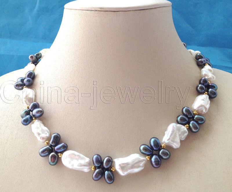 "P5987-18 ""21mm blanco + negro Reborn Keshi barroco collar de perlas de agua dulce-GP"
