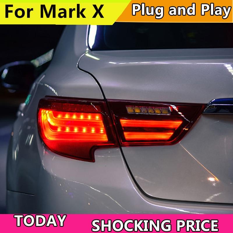 Estilo de coche para Toyota Reiz montaje de luz trasera 2013-2017 marca X luz trasera LED DRL + freno