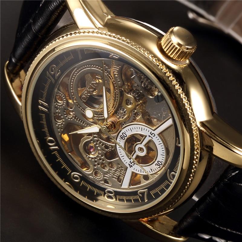 MG. ORKINA Luxury Clock Men Leather Belt Retro Black Golden Skeleton Dial Relogio Male Masculino Mechanical Automatic Watch