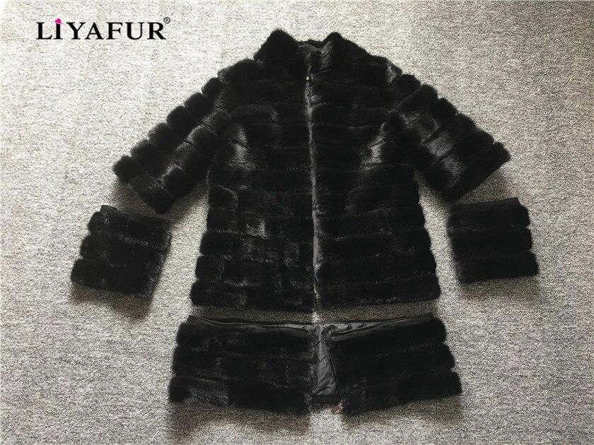 LIYAFUR-معطف طويل من فرو المنك الأصلي 4 في 1 للنساء ، معطف أسود فاخر ، مقاس مخصص قابل للفصل