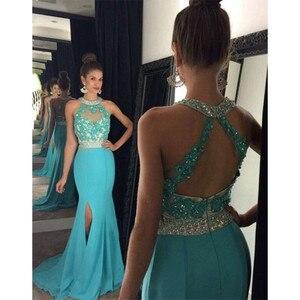 Light Blue Mermaid Evening Dress Long 2019 Beads Side Slit Chiffon Formal Evening Gowns Dresses Robe De Soiree Longue