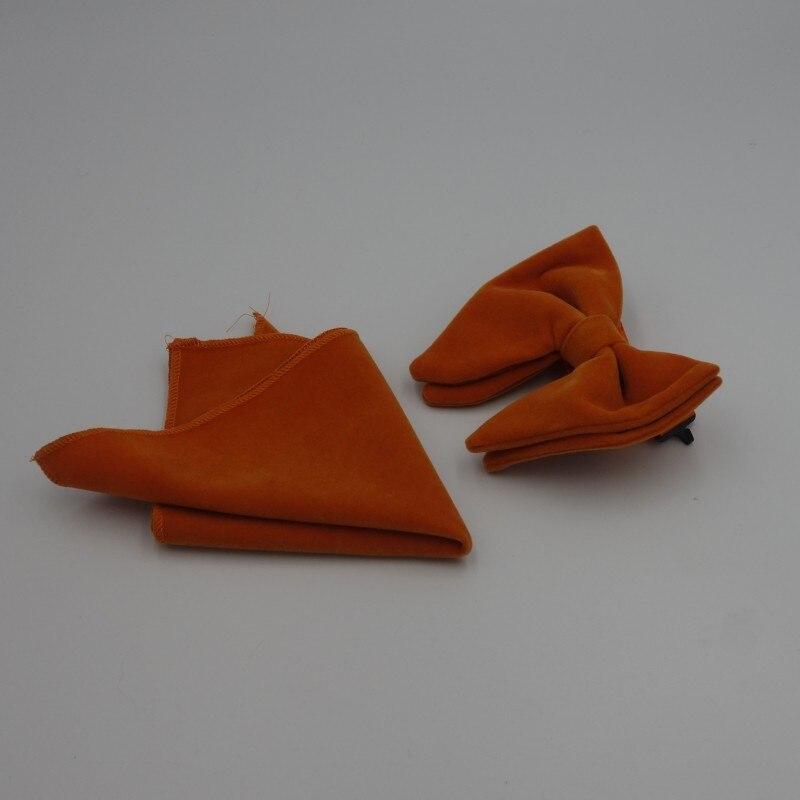 Ikepeibao, juego de Pajaritas de terciopelo naranja DK para hombre, pañuelo, esmoquin único, Pajaritas, corbata de boda