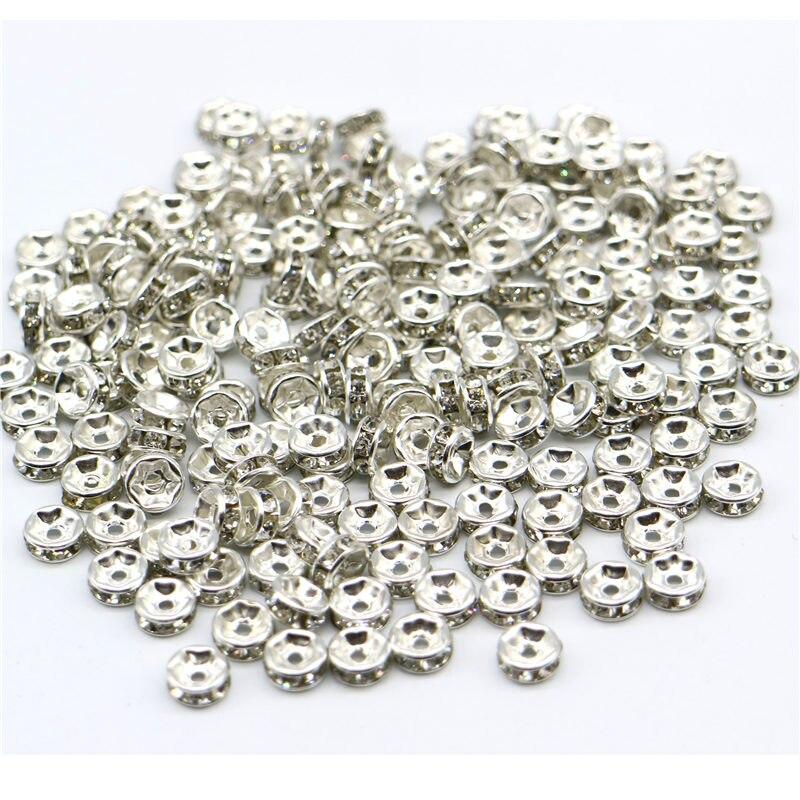 Precio al por mayor, 6mm, 200 unids/lote, cuentas plateadas, cuentas espaciadoras de cristal de diamantes de imitación para hacer joyas, agujero es de 1,5mm