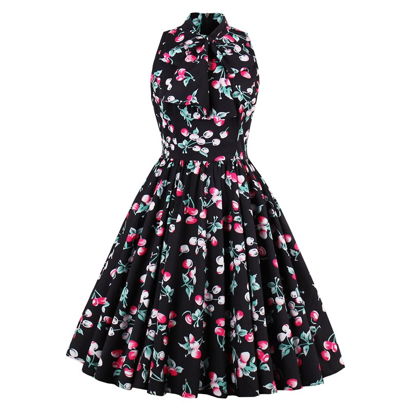 Summer Vintage Sexy Big Swing Elegant Plus Size Women Midi Dresses Print Sweet Retro Floral 2019 Black Female Fashion Dress
