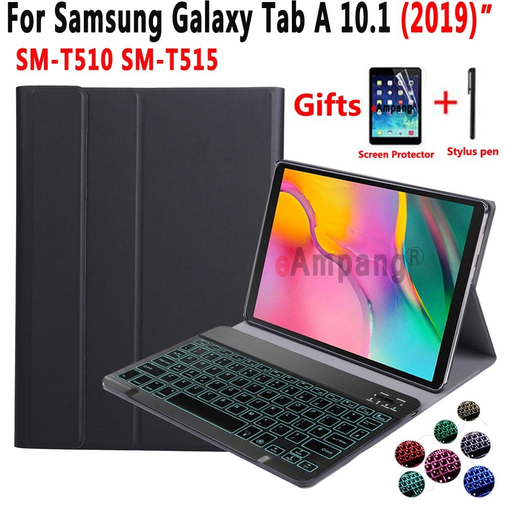 Teclado retroiluminado Funda para Samsung Galaxy Tab un 10,1 de 2019 T510 T515 SM-T510 SM-T515 tableta cubierta cuero Funda de teclado Bluetooth