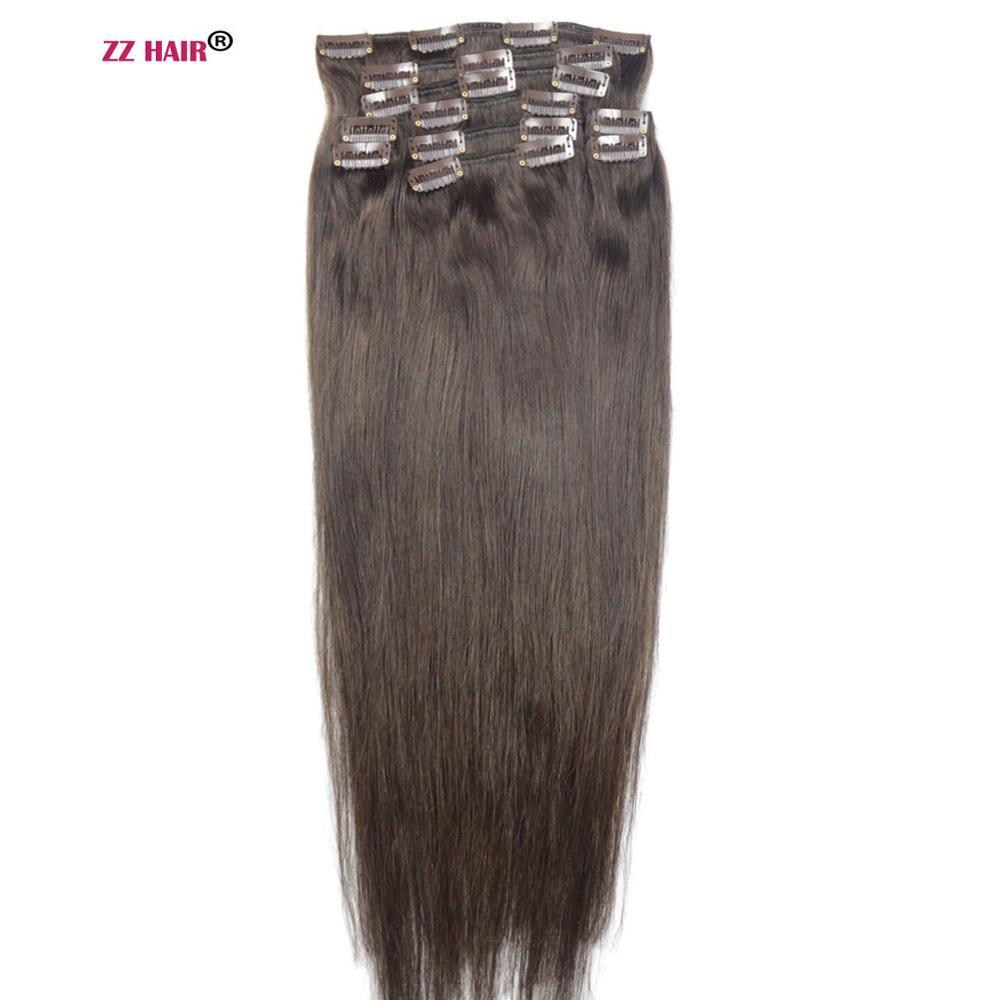 "ZZHAIR 140g-280g 16 ""-28"" hecho a máquina cabello Remy 10 Uds conjunto de Clips en extensiones de cabello humano cabeza entera Set de cabello lacio Natural"