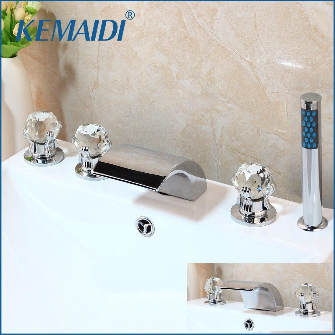 KEMAIDI дизайнерский комплект из 5 штук, смеситель с водопадом, носик с ручной душевой лейкой, смеситель для ванной комнаты, torneira ручной душ для ...