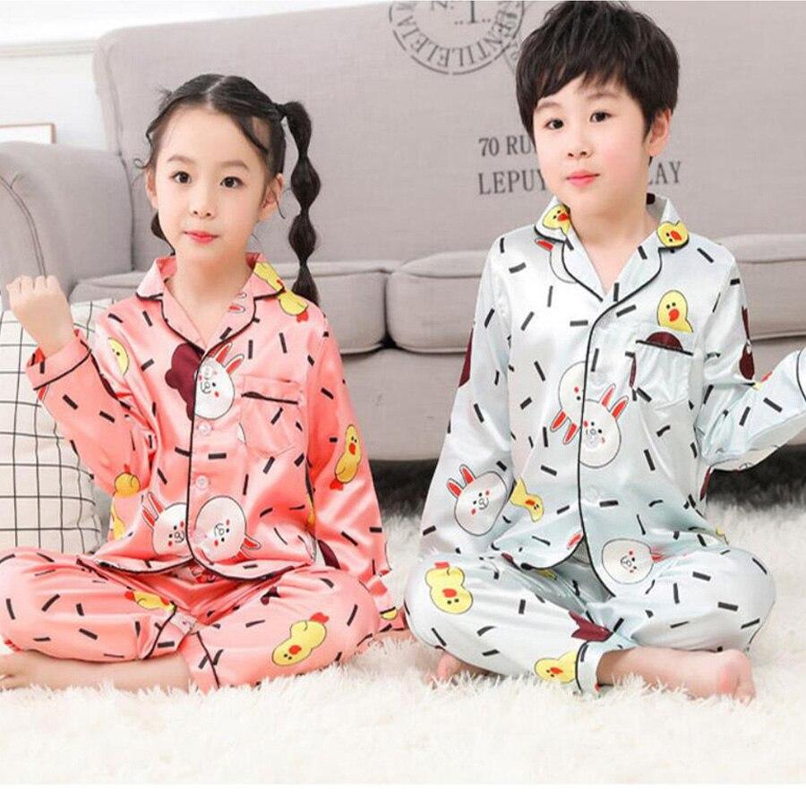 2019 Summer Children Girls Boys Pajamas Kids Home Clothing Set Silk Fabric Pajamas Nightwear Cartoon long sleeve Sleepwear Girl