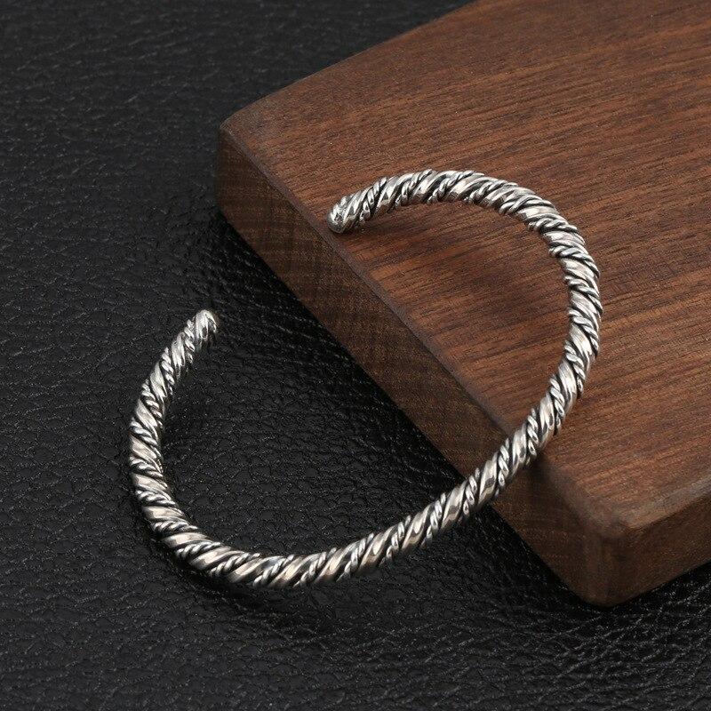 Venta al por mayor, Plata de Ley S925, joyería Retro tailandesa de plata para hombres y mujeres, brazalete creativo trenzado redondo de ajuste abierto