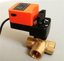 1 1/4'' Electric modulating valve 3way T port, AC/DC 24V Proportional valve 0-10V or 4-20mA regulating for flow regulation