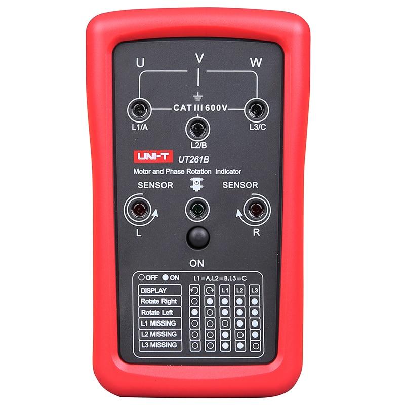 Medidor de Seqüência de Rotação do Motor Medidor de 15hz400hz Uni-t Phase Sequence Rotação Indicador Tester Testador Ut261b 3