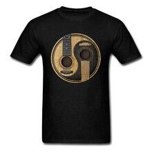 Guitarras acústicas Yin Yang, camiseta para hombres, camiseta para amantes de la música, ropa para DJ, camisetas clásicas negras, camisetas de algodón, diseño 3D novedoso