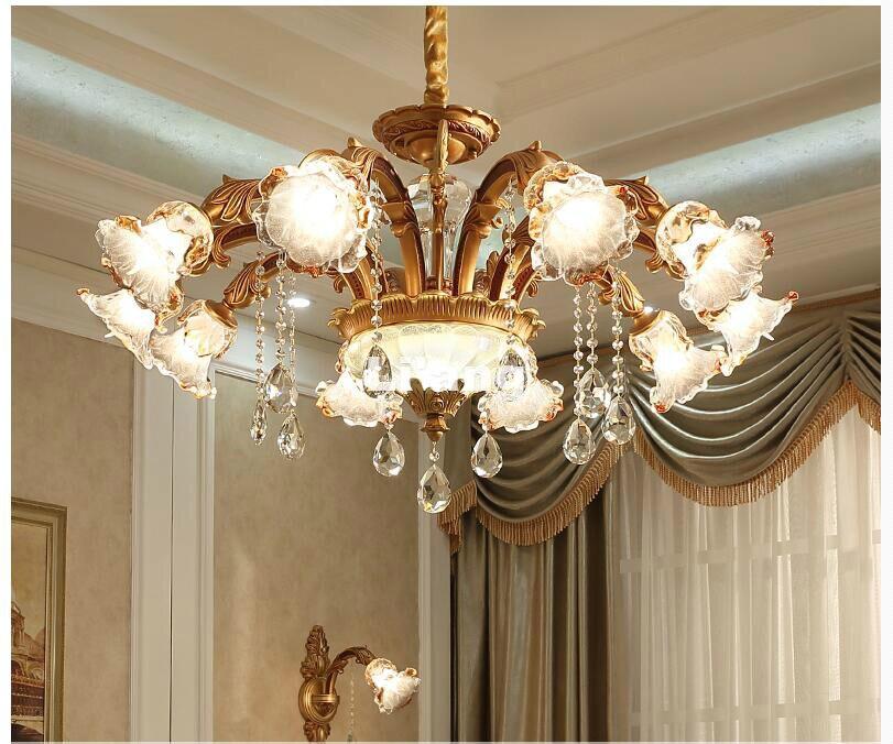 אירופאי מודרני E14 סלון מנורת קריסטל מנורת חדר שינה מסעדה יוקרה סגסוגת אבץ נר אור נברשת 100% מובטח