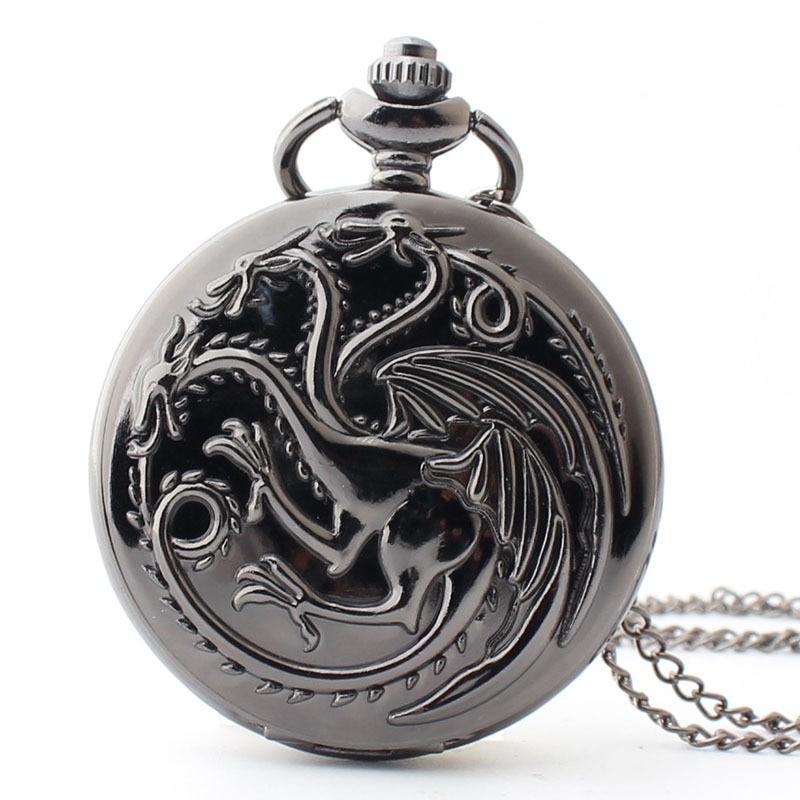 Relojes con bolsillo hueco para hombres y mujeres, regalo con cadena, reloj con colgante de Juego de tronos envío gratis de alta calidad