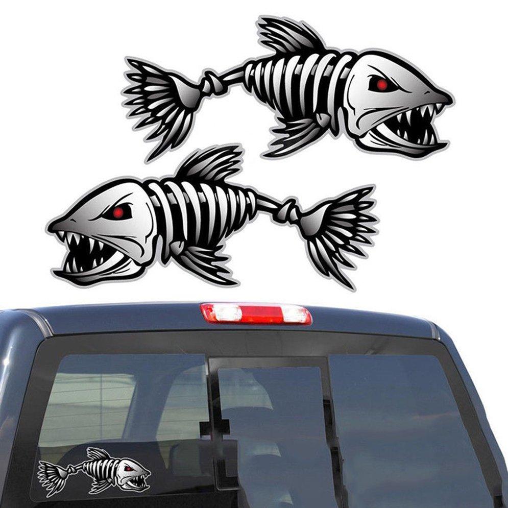 2PCS Skeleton Fish Bones R&L Vinyl Decals Stickers Kayak Fishing Boat Car (C022) Vehicle Accessories Parts